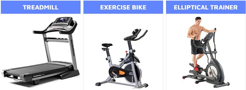 Comparison of Treadmill, Exercise Bike & Elliptical Trainer